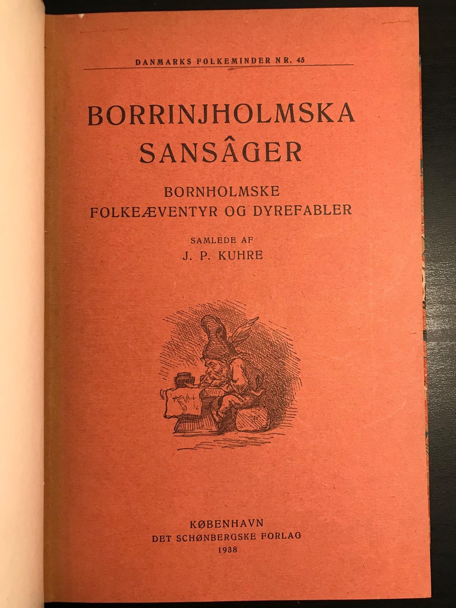 Borrinjholmska sansâger - Bornholmske folkeæventyr og dyrefabler titelblad